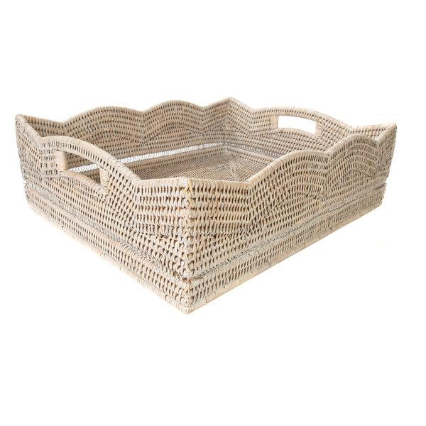 Artifacts Rattan? Scallop Rectangular Basket, White Wash