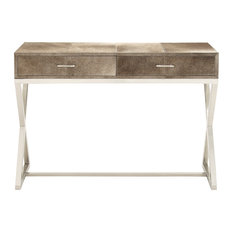 Classic Modern Stainless Steel and Leather Hide Console Table, Gray, Silver