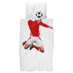 Football Champ UK Single Cotton Bedding Set, Red