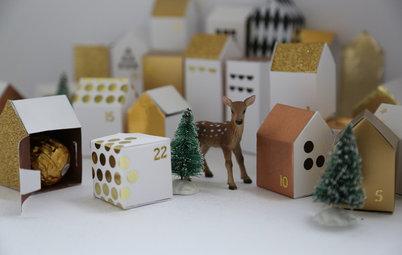 Gör din egen adventskalender: Skapa en hel liten julby med presenter