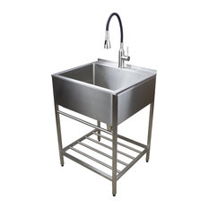 """Transolid 25""""x22"""" Stainless Steel Laundry Sink With Wash Stand, Brushed Satin"""
