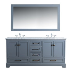 Denise Double Vanity Set With Mirror, Gray, 72""