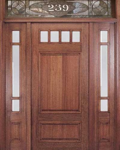 Craftsman Wood Door With Transom   Front Doors