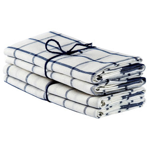 Axlings Kitchensquare Linen And Cotton Towel, 2 Pack, White and Marine