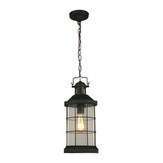 1x60W Outdoor Pendant w / Matte Black Finish and Clear Seeded Glass by Eglo 2027