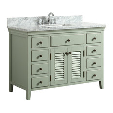Callum Green Bathroom Vanity With Carrara Marble Top, 48""