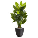 "Nearly Natural - 63"" Spathiphyllum Artificial Plant in Black Planter, Real Touch - Let your home interior make an impact with this artificial Spathiphyllum plant. Designed from the finest materials, this lifelike replica reaches 63"" high and shows off white blooms mixed with bright leaves that feel real to the touch. Nestled in a vertical black planter accompanied with natural-tone rocks, this favorite classic generates beauty and elegance."