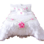 "Tache Home Fashion - Tache 6-Piece Rose Pink White Satin Ruffled Bedding Set, Queen - Satisfy your inner princess with this lovely set. Delicate pink roses adorn the pure white comforter and pillows. The ruffles and trim will make your bedroom feel like a palace. This makes an excellent gift for mothers and brides to be. This set includes one comforter size of your choice, two standard sized (20x30"") pillow shams, two cushion covers (18x18"") and, one neck roll pillow."