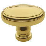 """Baldwin Hardware - Baldwin Decorative 1.5"""" Oval Cabinet Knob, Polished Brass - With a softly beveled edge invoking traditional design elements, Decorative Oval Knob provide a simple way to achieve a more conservative appearance with your home décor. Constructed from premium solid brass, each oval knob comes in your choice of several hands polished finishes, making it easy to construct the perfect look for your bathroom and kitchen. Further, each knob is shipped with all necessary mounting hardware, making for a painless installation, and should the unthinkable occur, all cabinet hardware is covered by Baldwin's limited lifetime warranty."""
