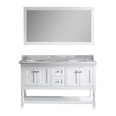 "Julianna 60"" Double Vanity, White, White Marble, Without Faucet, Round"