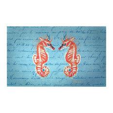 Betsy Drake Coral Seahorses Door Mat 30x50