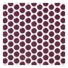 "Bliss 0.75""x0.75"" Ceramic Mosaic Tile, Plum"