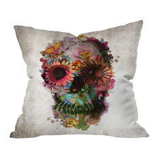 Ali Gulec Gardening Floral Skull Outdoor Throw Pillow
