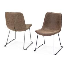 Mercana Finn, Set of 2, Dining Chair, Light Brown/Matte Black, Faux Leather