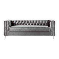 Jeannie Velvet 3-Seat Sofa Button Tufted With Metal Legs, Gray