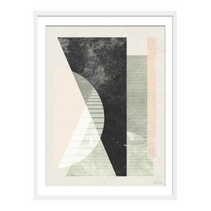 """In The Beginning"" Abstract Art Print, White Framed, 40x50 cm"