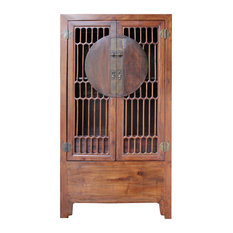 Chinese Brown Open Panel Storage Tall Cabinet Bookcase Hcs4910
