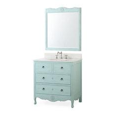 "34"" Dalleville Light Blue Bathroom Vanity, With Mirror"