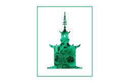 Green Malachite Pagoda 1 Silhouette Giclée by The Pink Pagoda