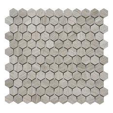 "11.5""x11"" White Oak Marble Mosaic Tile, Hexagon, Polished, Set of 5"