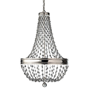 8-Light Contemporary Chandelier, Polished Nickel