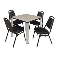 Kee 30-inch Square Breakroom Table Maple/Chrome And 4 Restaurant Stack Chairs Black