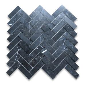 """12""""x12.75"""" Nero Marquina Herringbone Mosaic Tile Polished"""