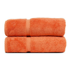 Towel Turkish Cotton Bath Towels, Coral, Dobby Border, Set of 2