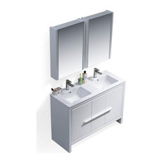 Milan 48-inch Double Vanity Set With Medicine Cabinets Glossy White