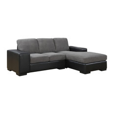 Monarch Specialties - Sofa Lounger - Gray Corduroy With Black Leather-Look - Sectional Sofas  sc 1 st  Houzz : corduroy sectionals - Sectionals, Sofas & Couches