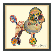 Poodle Handmade Collage Framed Graphic Wall Art Under Glass Signed by Alex Zeng