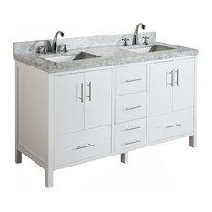 "California 60"" Bath Vanity, White, Carrara Marble, Double Vanity"