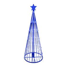 LED Light Show Cone Christmas Tree Lighted Yard Art Decoration, Blue, 9'
