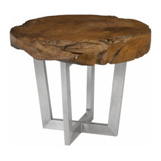 41-inchDia. Dining Table Solid Teak Wood Slice Organic Stainless Steel Base
