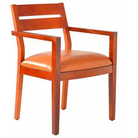 Wood Guest Chair Leather Seat Reception Chairs With Arms Waiting Room Chair
