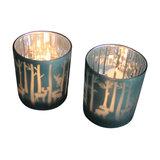 Blue Glass Reindeer Tealight Holders, Set of 2