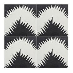 "8""x8"" Bettana Handmade Cement Tile, Black and White, Set of 12"