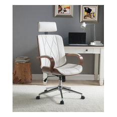 ACME Yoselin Office Chair, White PU and Walnut