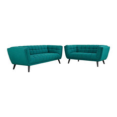 2 Piece Upholstered Button Tufting Fabric Sofa And Loveseat Set Teal