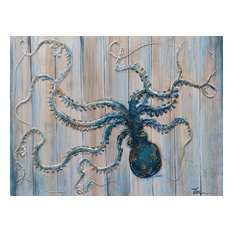 """Pretty Blue Octopus"" Hand Painted Canvas Art, 30""x40"""