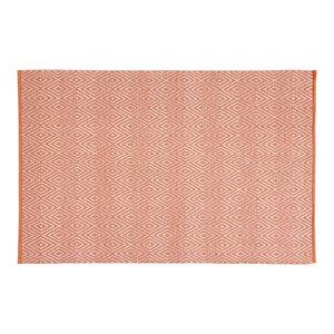 Handwoven Coral Diamonds Cotton Rug, 200x300 Cm