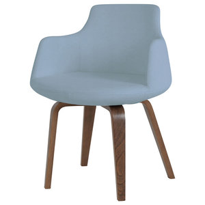 Dervish Plywood Chair, American Walnut Base, Blue Leatherette