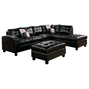 Cool Abbyson Living Jersey Leather Reversible Sectional And Inzonedesignstudio Interior Chair Design Inzonedesignstudiocom