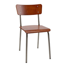 School Contemporary Dining Chair With Steel Frame, Mahogany