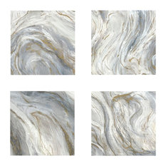 Modern Abstract Marbelized Wall Art Square Painting, 4-Piece Set Gold White Coll