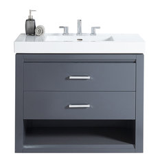 Fairmont Designs Studio One 36-inch Single Vanity Glossy Pewter Base Cabinet Only