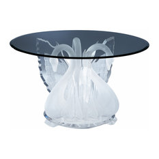 """Legend Swan Round Dinette Table Base with a 54""""Round glass top"""