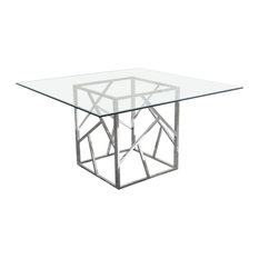 Dining Table With Clear Tempered Glass Top And Polished Stainless Steel Base