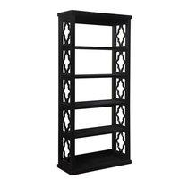 Trellis Pattern Side Panels Bookcase Black