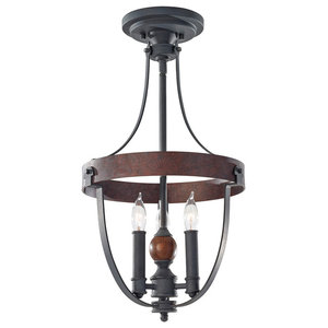 3-Light Chandelier, Af/Charcoal Brick/Acorn